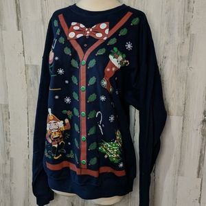 UGLY CHRISTMAS Sweatshirt Navy Bow Tie Holiday XL